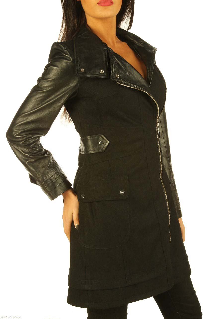 Leatherotics Ladies Black Leather Wool Coat With Full Grain Leather Arm Sleeves Tight Fit (X-Large)
