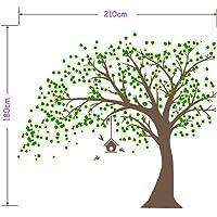 AIYANG Gigante Negro Adhesivo de Pared, árbol con Hojas Verdes y pájaros Birdcage DIY Pared