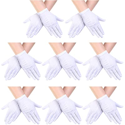 Child Nylon Gloves Formal Gloves White Dress Gloves for Kids Costume Gloves Art Show, Uniform Party, White (8 Pairs): Clothing