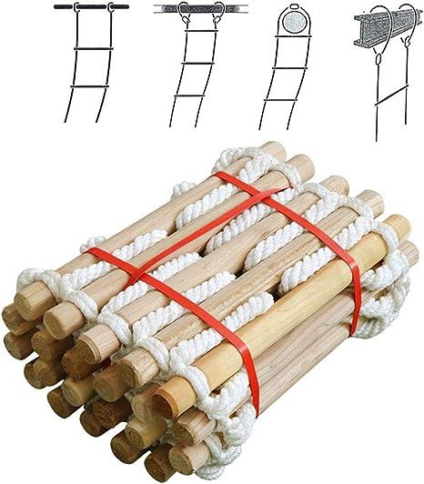 Escalera de cuerda antideslizante de rescate, 5M, 10M, 15M, 20M escape escalera suave con gancho y seguridad de altura, Resina de la casa del árbol Escalera de cuerda de escape para ventanas,20m: