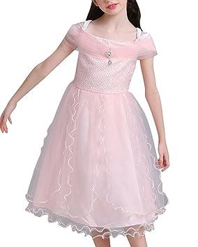 Vestidos Bebe Niña Vestidos De Noche Para Boda Fiesta Midi Elegante Princesa Vestido Pink para 150CM