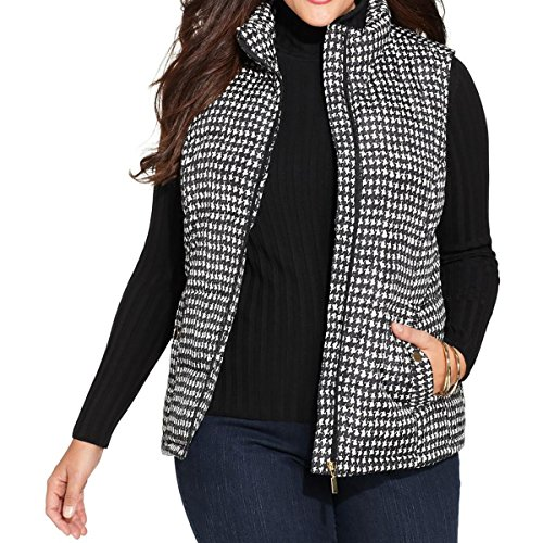 Charter Club Womens Plus Printed Puffer Outerwear Vest B/W 1X