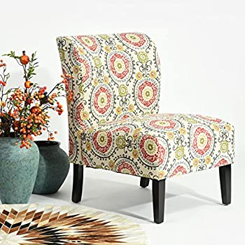 Multi Color Fabric Accent Chair Circle Scroll Design With Wooden Legs