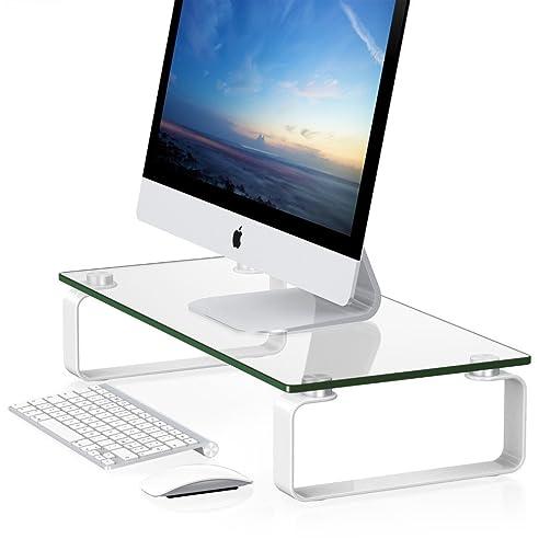 echt glas design monitor bildschirm tv laptop stnder erhhung podest standfu fr zb apple imac - Computertisch Fr Imac 27