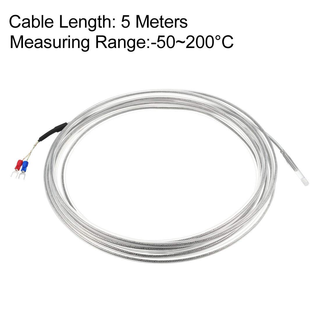 58-392F -50-200C 4mm x 30mm Temperature Sensor Probe of K-Type thermocouple with 5M Long Cable in Temperature Range of
