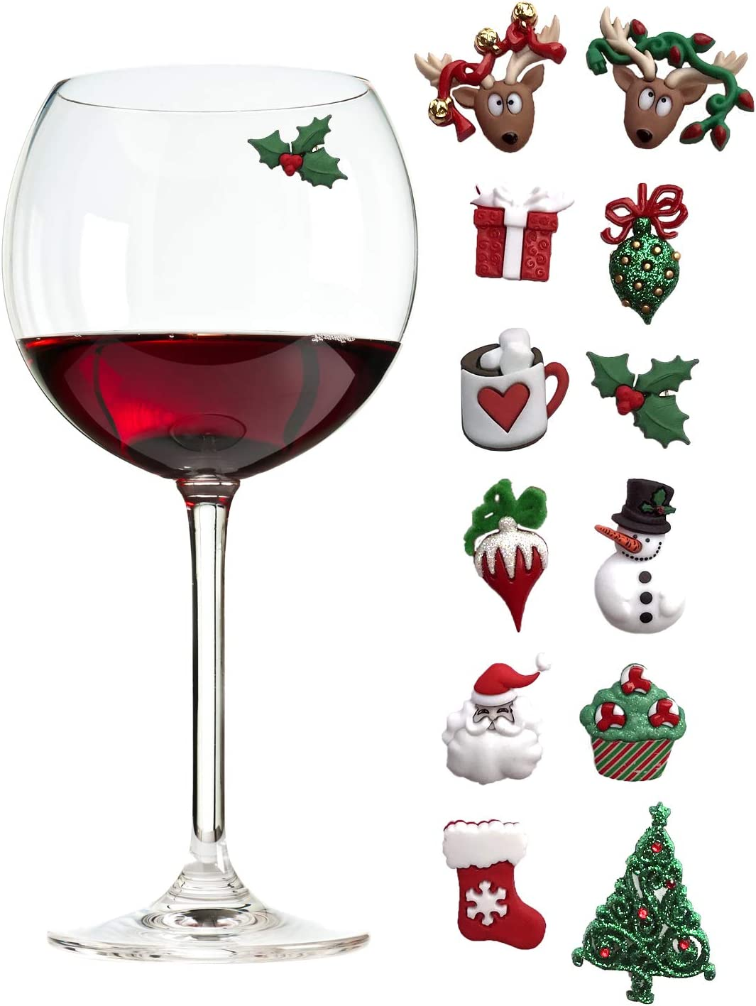 Christmas Holiday Magnetic Wine Glass Charms   Cocktail Markers Set of 12 - Great Christmas Hostess Gift or Stocking Stuffer