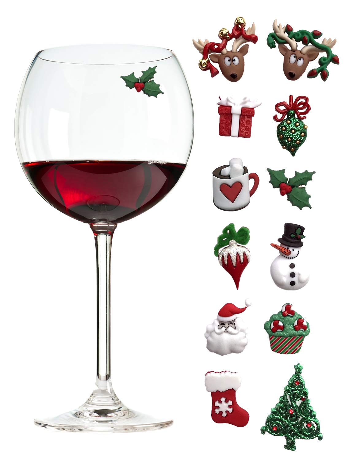 Christmas Holiday Magnetic Wine Glass Charms & Cocktail Markers Set of 12 - Great Christmas Hostess Gift or Stocking Stuffer by Simply Charmed