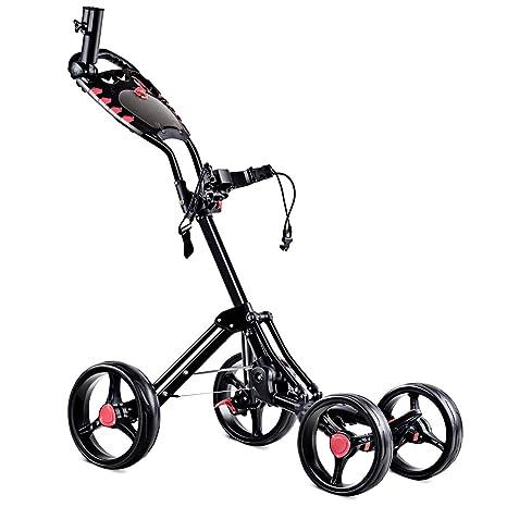 Tangkula Plegable Carro de Golf Club de Golf de 4 Ruedas Push Pull Carrito con Paraguas