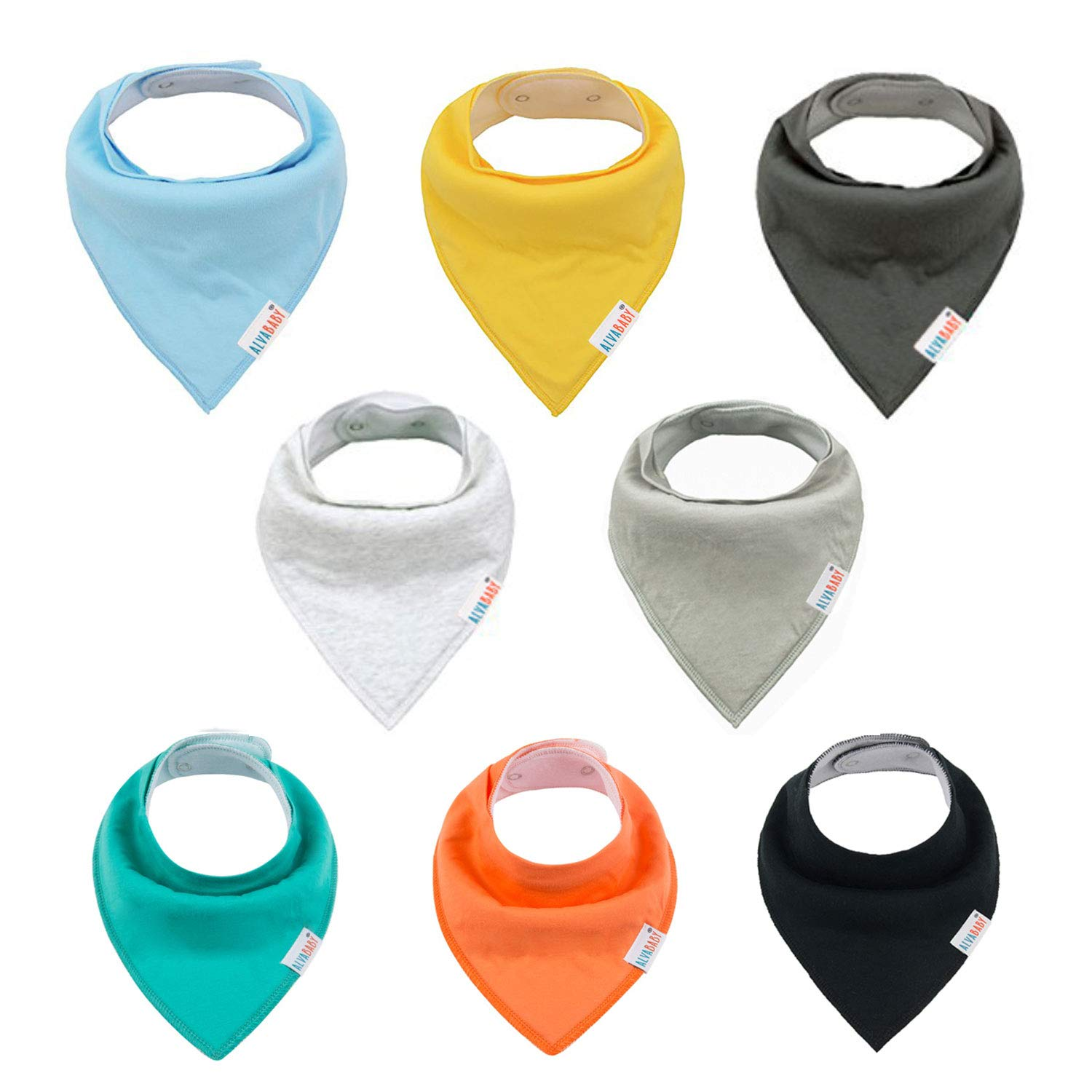ALVABABY Bandana Drooling Bibs Resuable Washable Adjustable for Boys and Girls 8 Pack of Super Absorbent Baby Gift Sets 8SD36