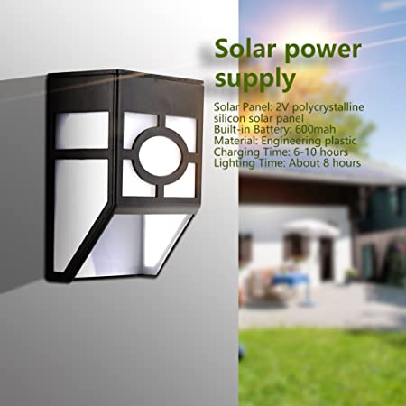 Solar Power Wall Mount LED Light Outdoor Garden Path Landscape Fence Yard Lamp C
