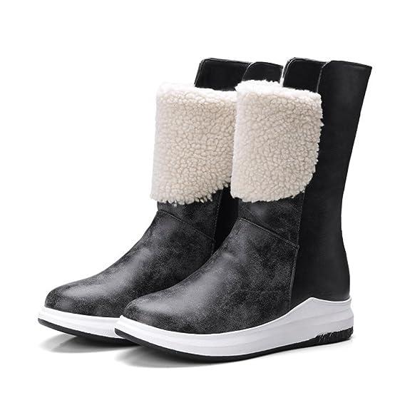 Yiiquan Damen Winter Stiefel Kurz Flache Schneeschuhe Warme mit Dicken Gefüttert Schuhe (Licht Braun, 35 EU)