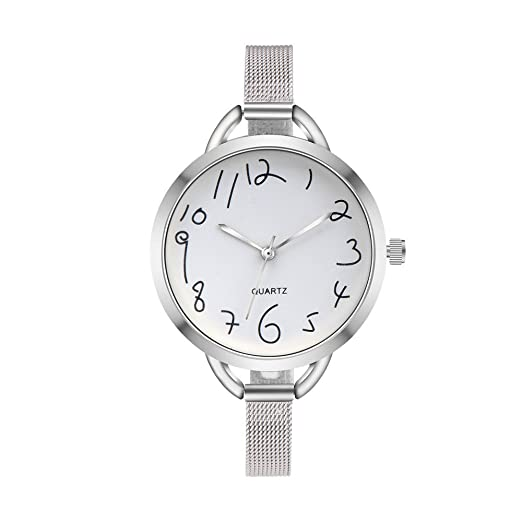 Kinlene 2018 Reloj casual mujer,Tira de acero Flor de diseño banda de cuero de aleación analógica cuarzo reloj de pulsera (Plateado): Amazon.es: Relojes