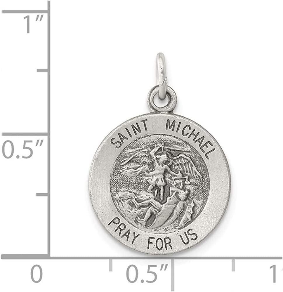 925 Sterling Silver Solid Polished and satin Engravable Christopher Medal Charm Pendant Necklace Jewelry Gifts for Women St back only