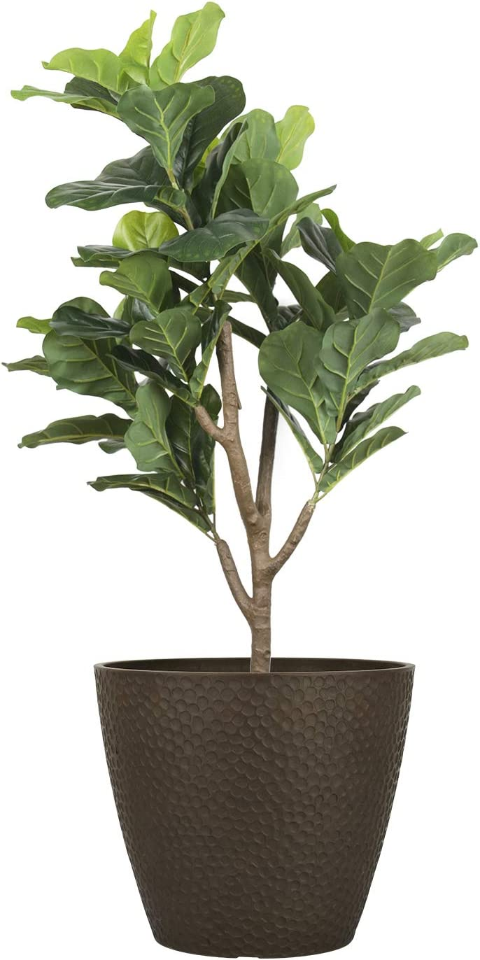 Outdoor Indoor Tree Planters - 14 Inch Large Planter Flower Pots Containers, Plant Pots, Brown, Honeycomb