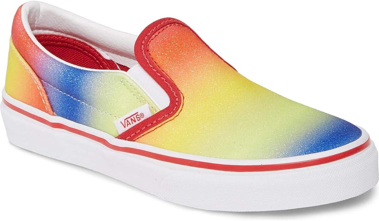Vans Kids Rainbow Glitter Racing REDWhite Slip On: Amazon