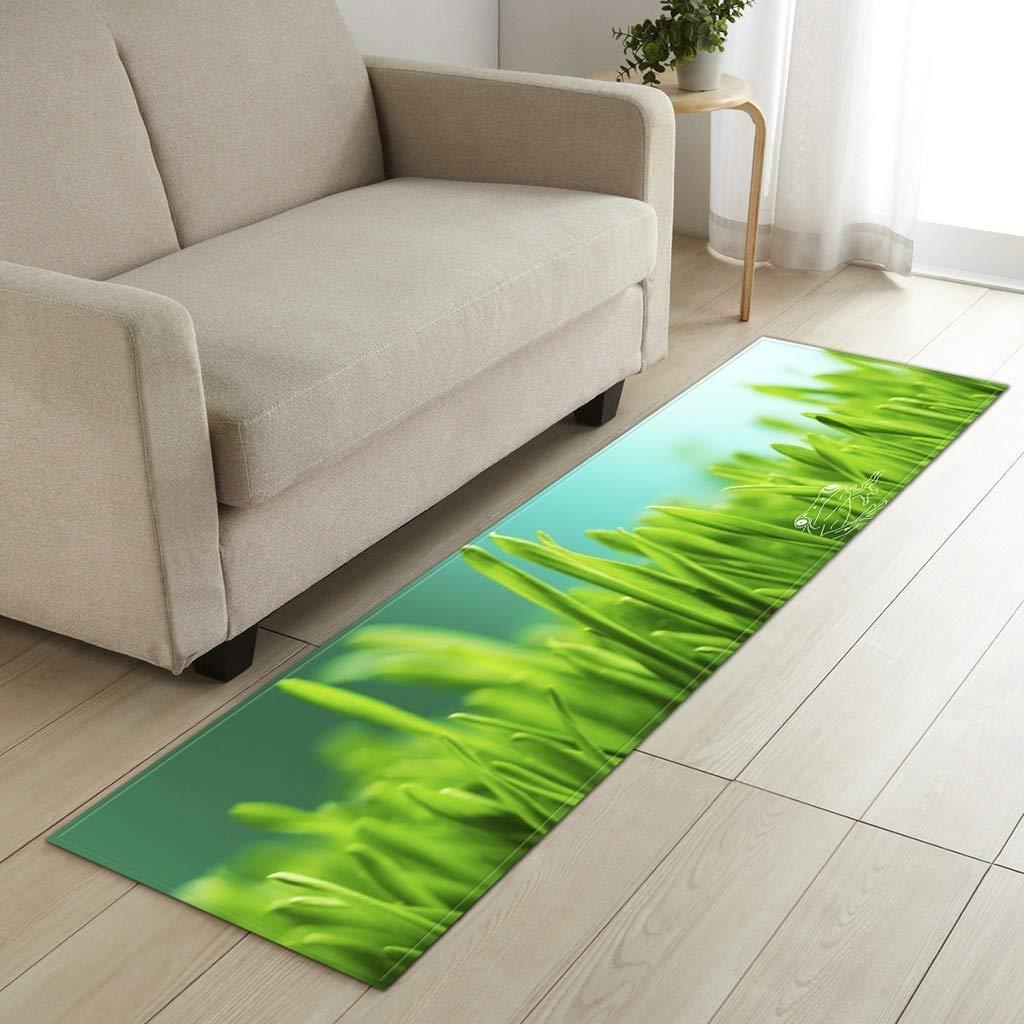 長方形ホームカーペット緑の葉のパターンリビングルームの寝室の台所敷物モダンなミニマリストのソファベッドサイドパッドダニ浴室の滑り止めの長い床/靴ストリップのマット、カスタマイズ可能(サイズ:60 * 180 CM) (色 : F f, サイズ さいず : 60*180センチメートル) B07RDNJWLS F f 60*180センチメートル