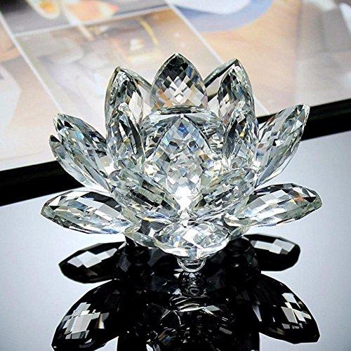 [해외]행운 무색 투명 크리스탈 받침대 세트 연꽃 인형 가져다 주는 풍수 산 캐 챠 선물 수공예품 소품 (100mmF) / No luck colorless clear crystal pedestal set with lotus flower figurine lucky charm Feng Shui Sun catcher Gift Crafts Accessories...