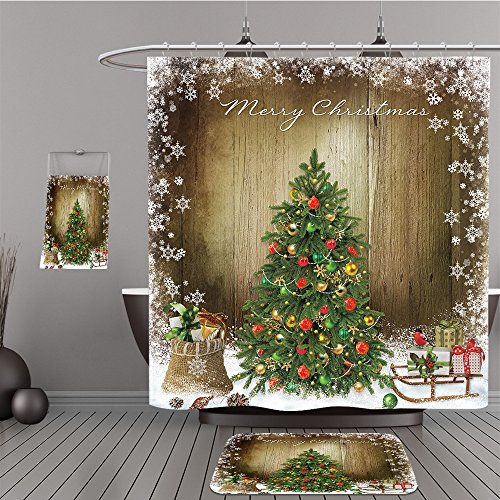 Uhoo Bathroom Suits & Shower Curtains Floor Mats And Bath Towels 230717638 Christmas greeting background with Christmas tree and gifts For Bathroom (Reviews Tree Christmas 2017)