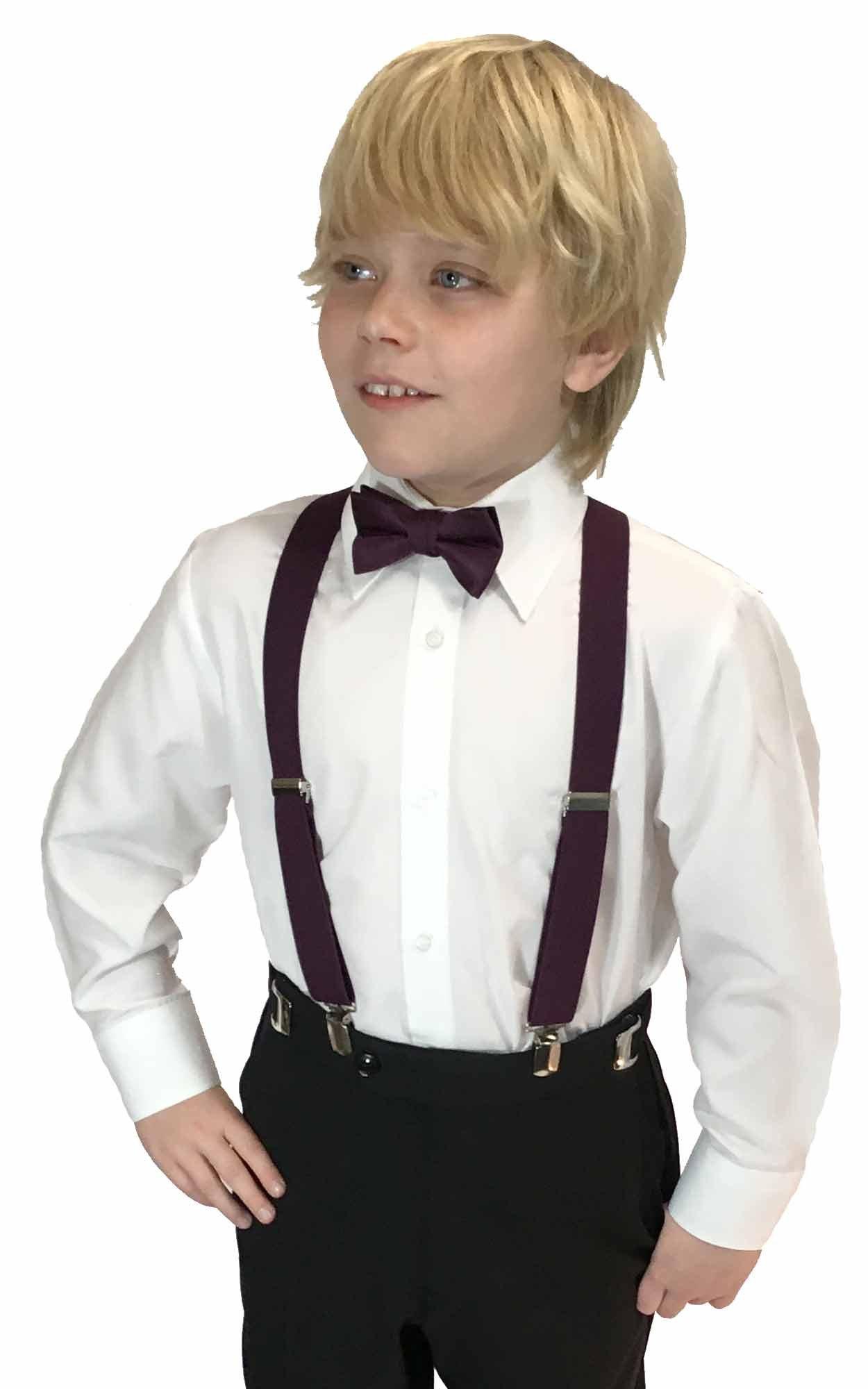 Spencer J's Boys X Back Suspenders & Bowtie Set Variety of Colors (Plum)