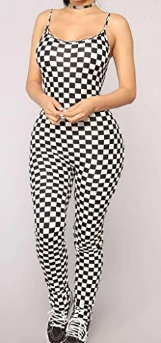 4360396182f Amazon.com  Jotebriyo Womens Spaghetti Strap Biker Outfits Sets Skinny  Checkerboard Jumpsuit Romper  Clothing