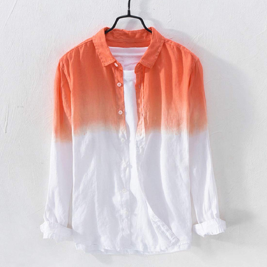 KASIDN Mens Shirts Mens Long Sleeve Shirt Breathable Lapel Collar Hanging Dyed Gradient Cotton Shirt Top Blouse