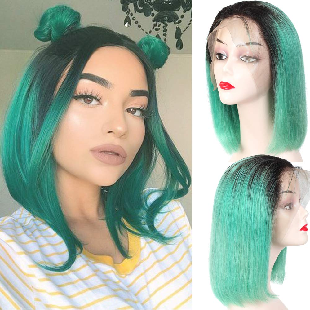 Amazon Com Yolami Ombre Two Tone T1b Light Green Brazilian Straight Short Bob Lace Front Wigs For Black Women 13x6 Deep Part Glueless Virgin Human Hair Lace Frontal Wig Pre Plucked 10inch 1b Light Green