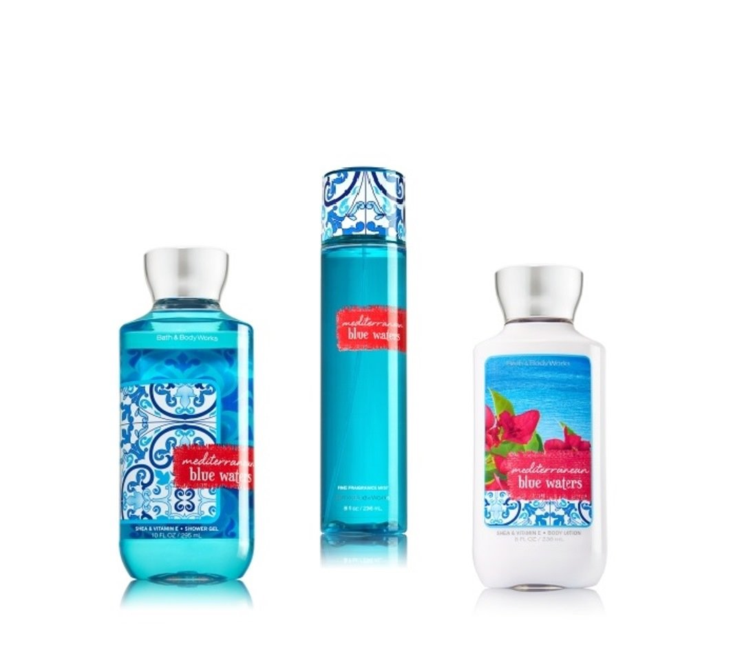 Amazon com   Bath   Body Works   Signature Collection    MEDITERRANEAN BLUE  WATERS    Shower Gel   Fine Fragrance Mist   Body Lotion   Trio Gift Set. Amazon com   Bath   Body Works   Signature Collection