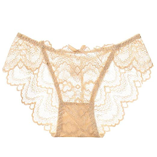 1aa0c15018a8 ManxiVoo Women's Lace Flower Briefs Panties Sexy Bowknot Lace Floral  Lingerie Underwear G-String Thongs