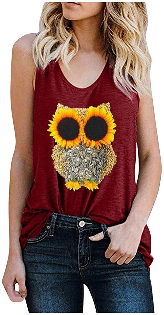 Crazylover Sun Sunflower Tank Tops Women Summer Sleeveless Vest Cute Funny Graphic Tees Tank T Shirt Letter Print Shirt