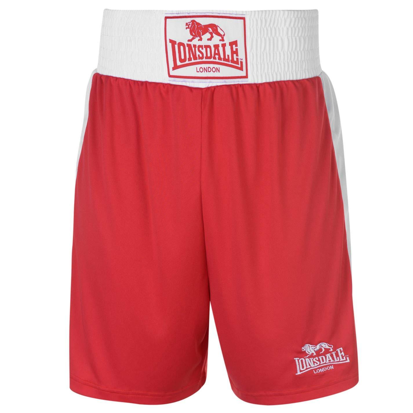 Lonsdale para Hombre Caja Corto Pantalones de Boxeo de Entrenamiento Sport Gimnasio Wear Rojo Large