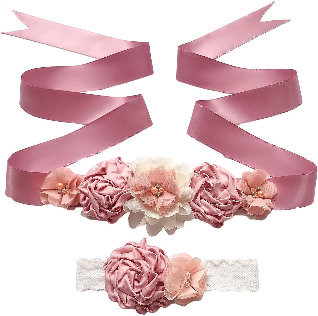 Maternity Flower Sash Belt Flower Girls Dress Belt Bridal Floral Pregnant Sash JB29