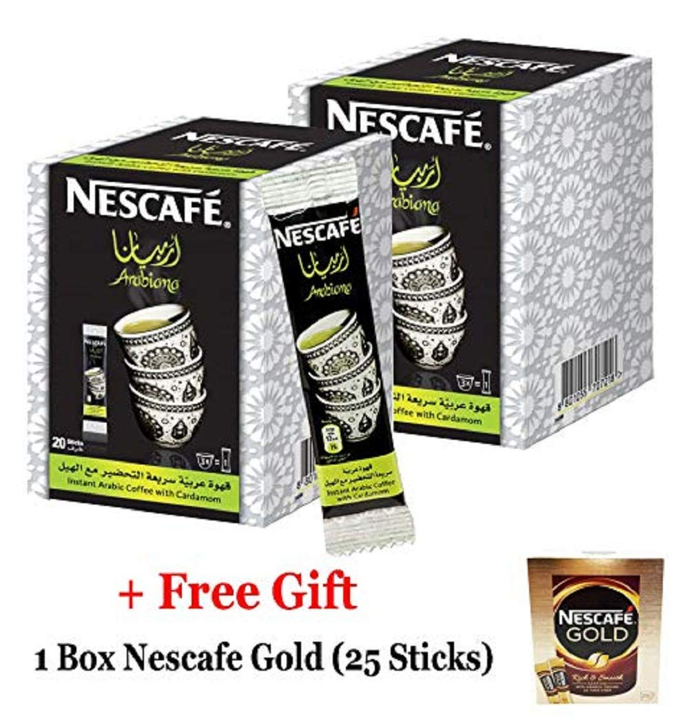 Instant Nescafe Arabiana Arabic Coffee Mix With Cardamom Flavor (2 Boxes (40 Sticks))