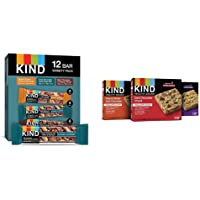 KIND Bars, Nuts and Spices Variety Pack, Gluten Free, Low Sugar, 1.4 Ounce Bars, 12 Count & Healthy Grains Granola Bars…