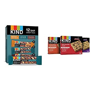 KIND Bars, Nuts and Spices Variety Pack, Gluten Free, Low Sugar, 1.4 Ounce Bars, 12 Count & Healthy Grains Granola Bars, Dark Chocolate Chunk, Peanut Butter Dark Chocolate, 1.2 oz, 15 Count