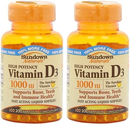 Sundown Naturals High Potency Vitamin D3, 1000 IU, Bonus Size Bottles 200 Softgels (Pack of 2) Total 400 Softgels