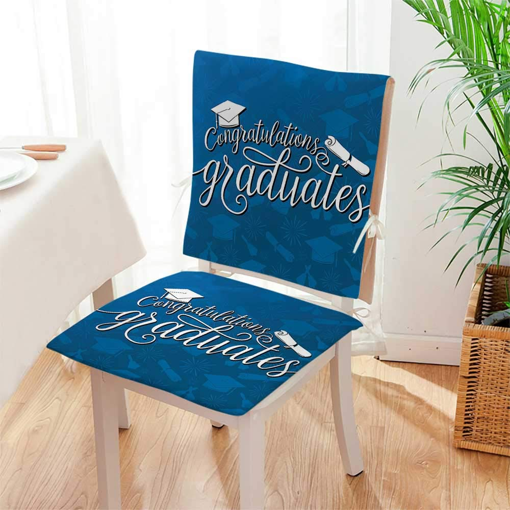 Mikihome Seat Set Cushion College Celebration Ceremony Certificate Diploma Square 2 Piece Classic Decorative Chair pad Mat:W17 x H17/Backrest:W17 x H36