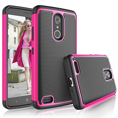 Tekcoo ZTE Max XL Case, Tekcoo ZTE Max XL Cover for Girls, [Tmajor] Shock Absorbing [Rose] Rubber Silicone & Plastic Scratch Resistant Defender Bumper Grip Rugged Hard Cases for ZTE Max XL/N9560