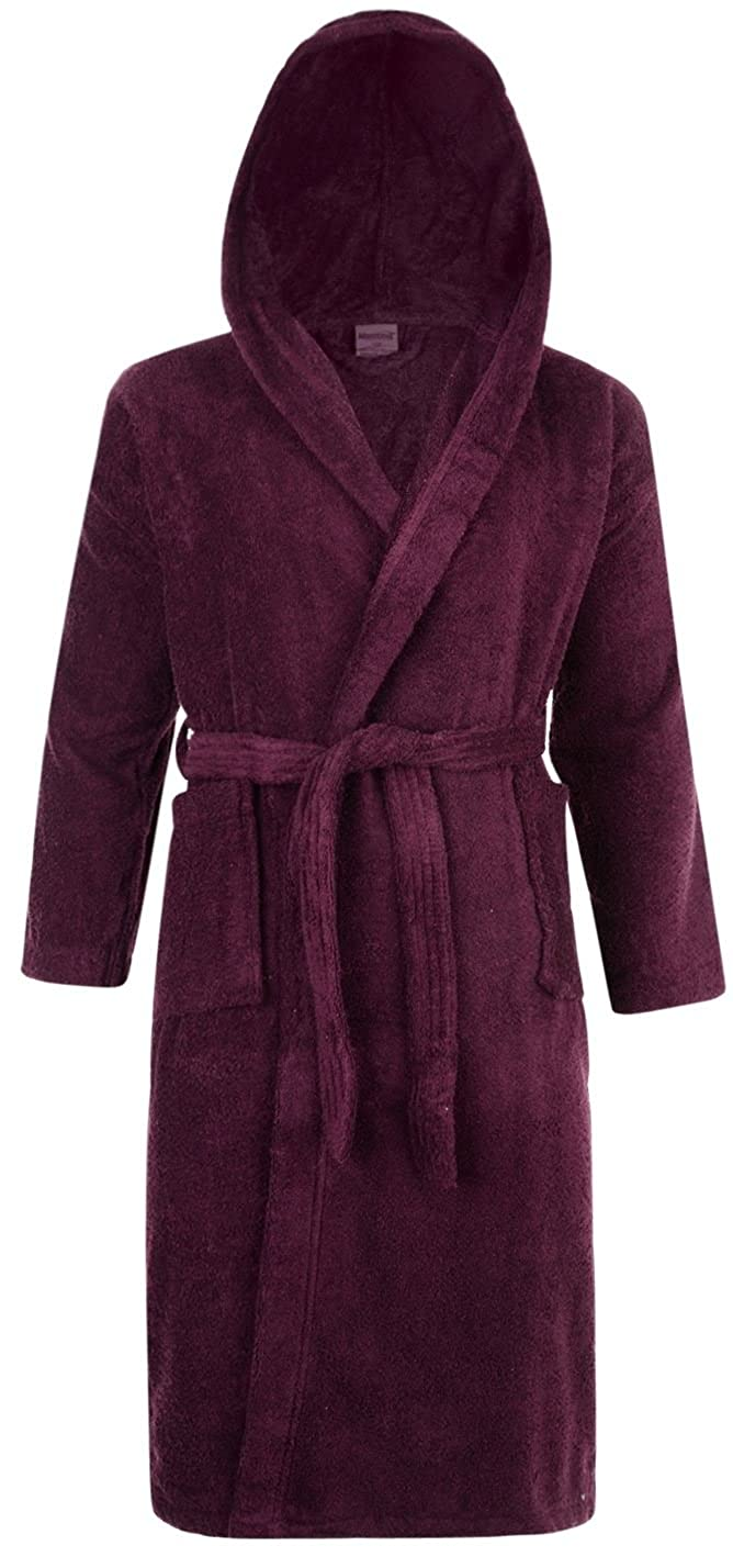 Ex-Store Mens & Ladies 100% Cotton Terry Towelling Hooded Shawl Collar Bathrobe Dressing Gown Bath Robe (Aubergine)