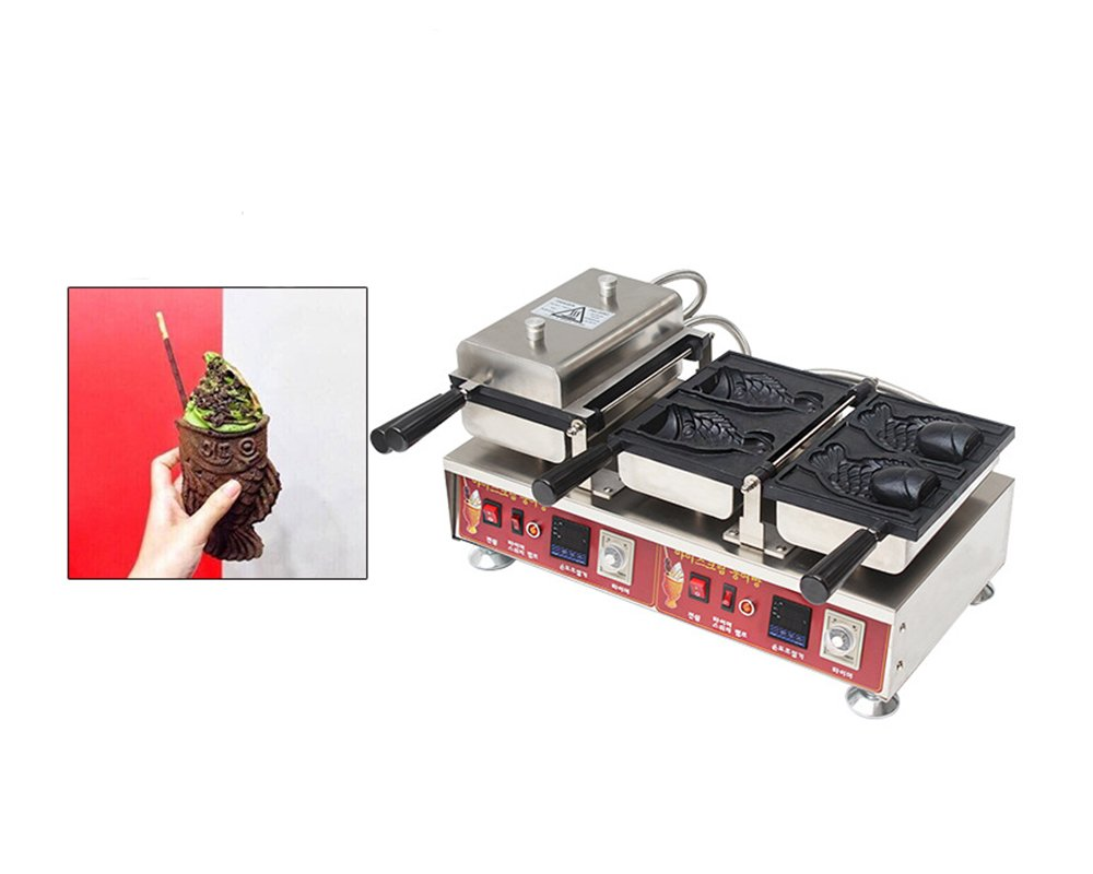 Digital Display Japanese Taiyaki Maker Waffle Maker Fish-shaped Cake Ice Cream Baking Machine (220V AU/EU/UK PLUG)