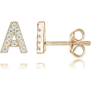 038e10bd6 PAVOI 14K Rose Gold Plated Sterling Silver CZ Alphabet Letter Earrings |  Initial Earrings for Girls