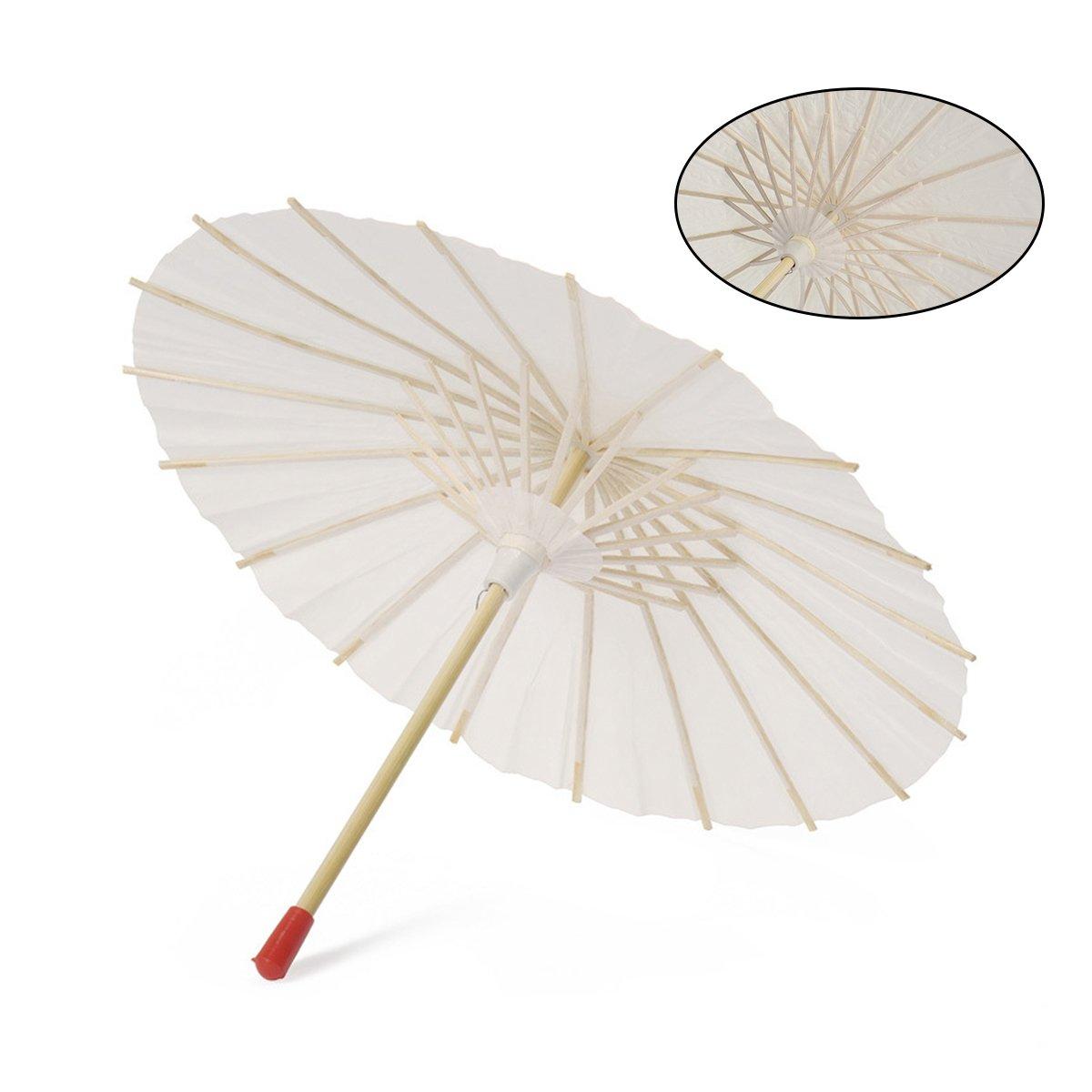 BESTOYARD Ombrellone 2PCS Carta Bianca con Decorazioni di Nozze di Carta Giapponese Cinese Ombrello Taglia 22