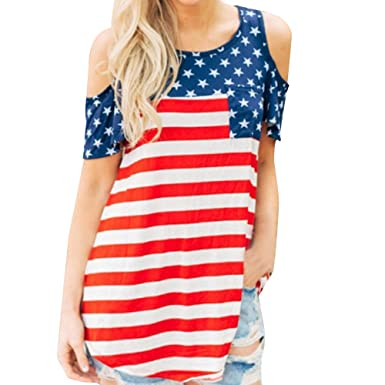 dad75fd5431 Outtop Women s Cotton American Flag Print Short Sleeve T Shirts USA  Patriotic Tops  Amazon.in  Clothing   Accessories