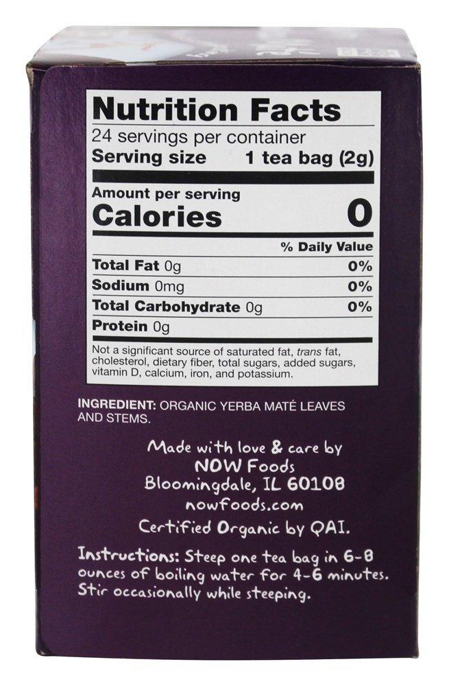 Now Foods Organic Real Tea Mighty Yerba Mate 24 Tea Bags 1 7 oz 48 g