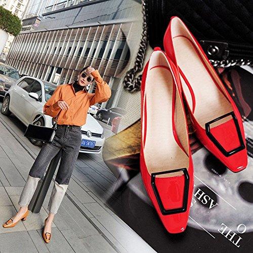 38 Tacco Femmina Di Metallo Scarpe in DHG e Quattro con Basso Cavallo Fibbia Rosso Scarpa in Singola Scarpe Pelle con Stagioni xqxpSRAO