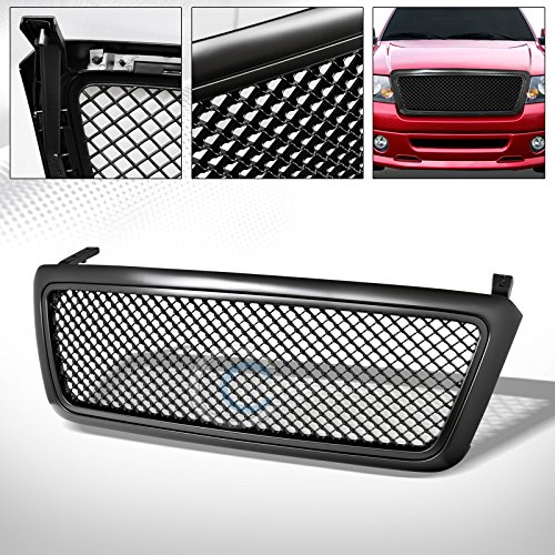 Upper 4 Piece Grille Grill - HS Power Matte Black Center Mesh Upper Front Hood Bumper Grill Grille Cover 04-08 Ford F150