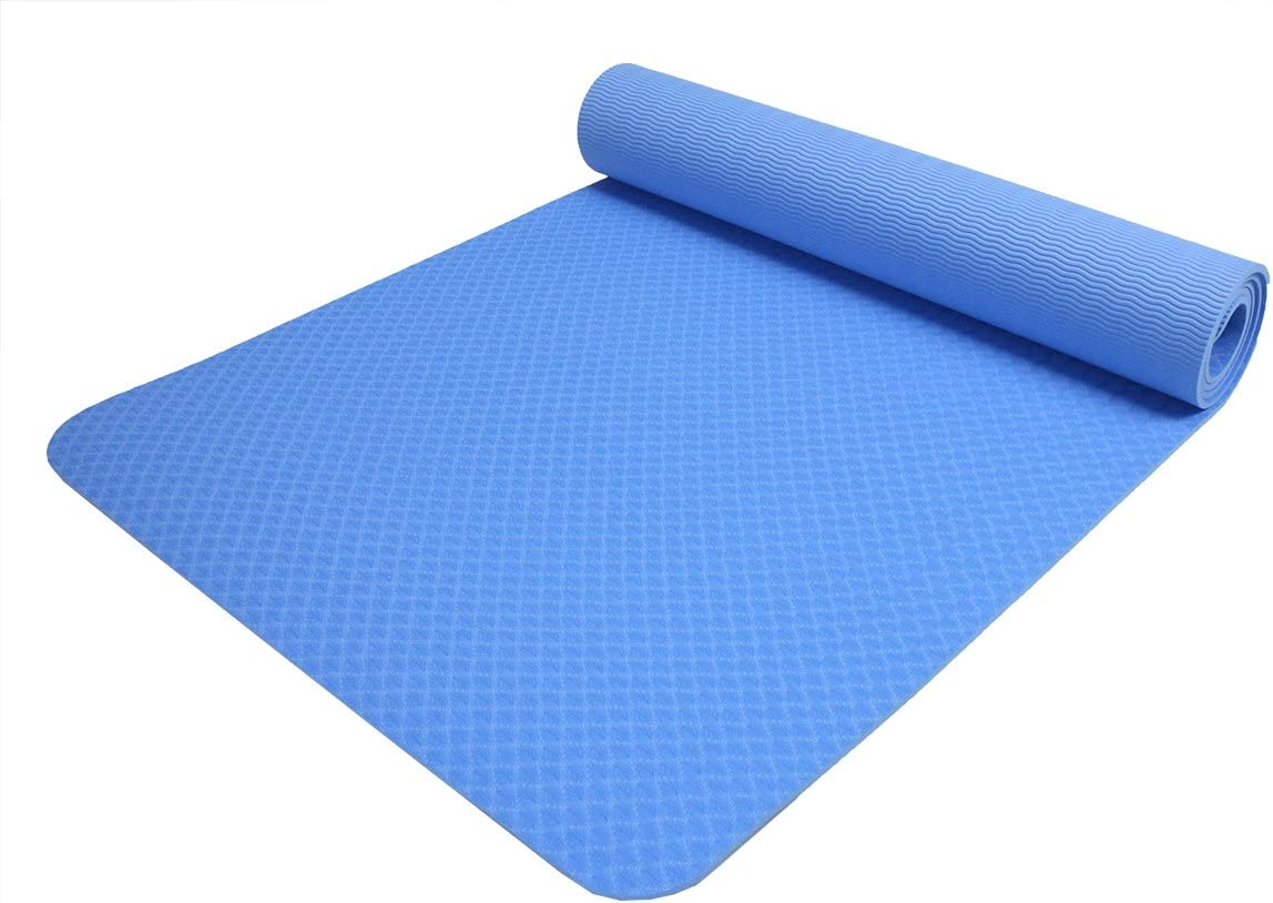 "(Stock Clearance!!) ObboMed FY-1806 Non-Slip TPE Exercise Fitness Yoga Mat 72"" x 24"", 1/4"" (6mm) Thickness with Bonus Carrying Strap for Workout, Hot, ..."