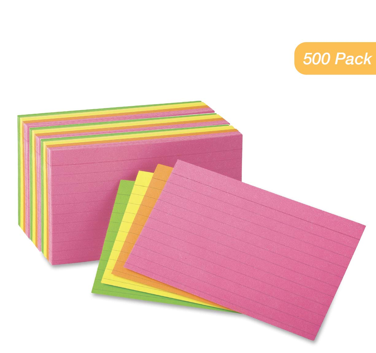 Index Cards - 3x5 Inch - Heavy Weight Ruled Index Card - Index-Cards Great for Notes, Organizing, Flash Cards, Lists, Recipes and More - 500 Cards (Neon)