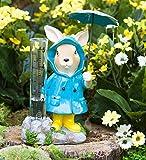 Animal in Rain Gear Decorative Rain Gauge - Outdoor Yard and Garden Statue - 5 L x 3 W x 7 H - Bunny