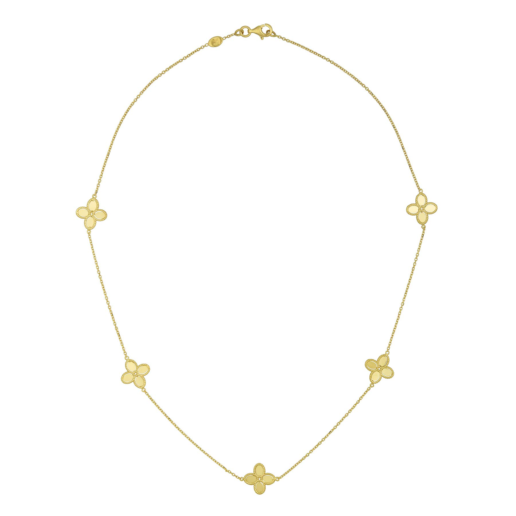 14k Italian Yellow Gold Four Leaf Clover Flower Station Necklace, 18 inches by Goldie Direct