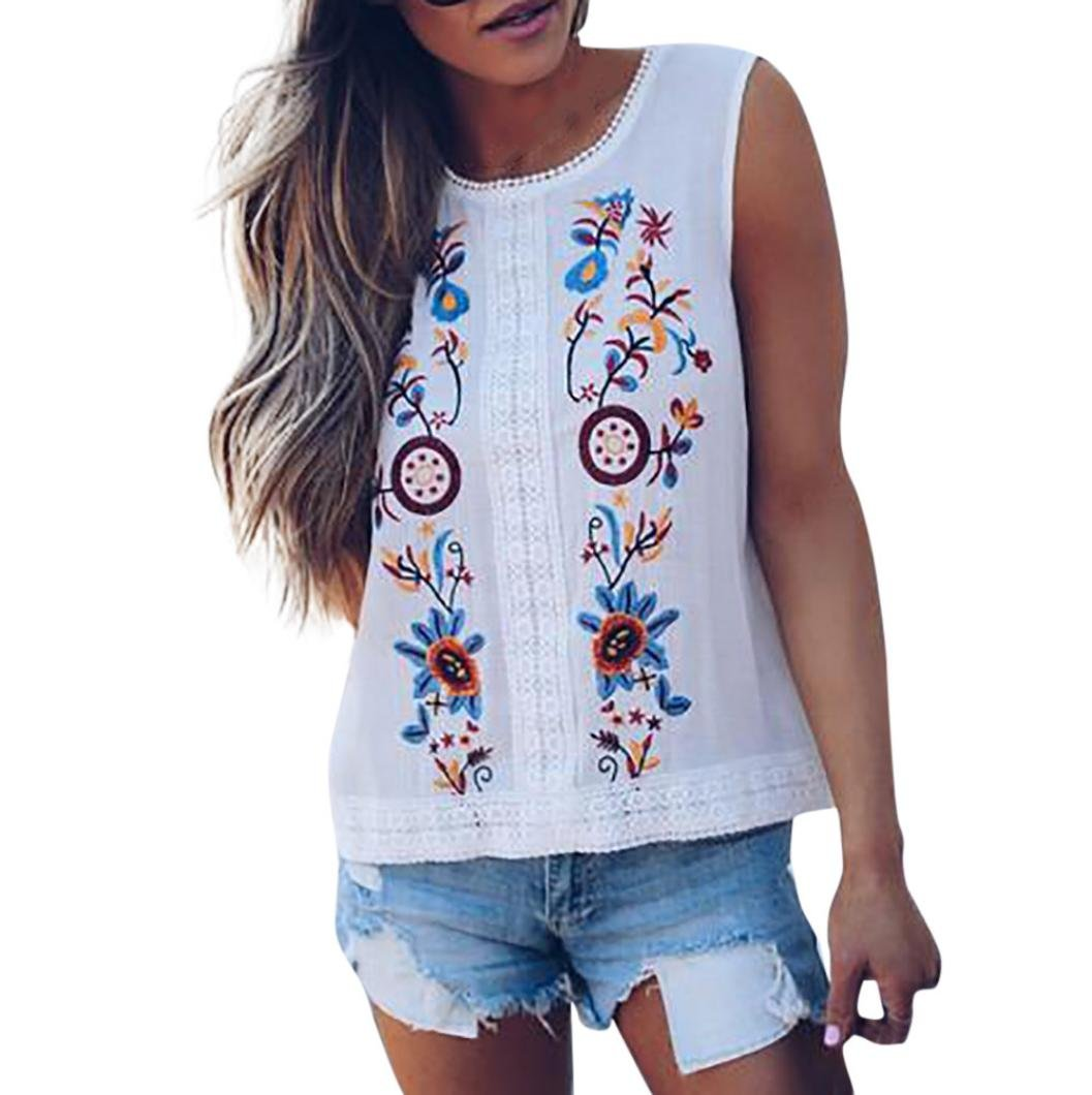 Yihaojia Embroidery Floral Womens Sleeveless O-Neck T-Shirt Tank Comfy Casual Blouse Basic Tee (White, XL)